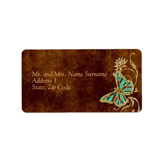 Brown aqua gold address wedding engagement party label