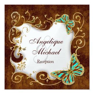 "Brown aqua gold country RECEPTION wedding 5.25"" Square Invitation Card"
