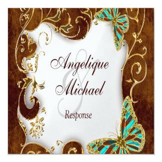 "Brown aqua gold country RESPONSE wedding 5.25"" Square Invitation Card"