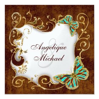 "Brown aqua gold country wedding 5.25"" square invitation card"