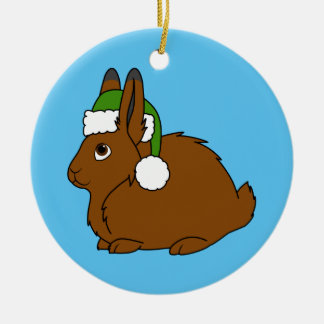 Brown Arctic Hare with Christmas Green Santa Hat Round Ceramic Ornament