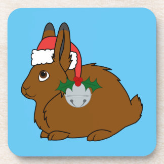 Brown Arctic Hare with Santa Hat & Silver Bell Drink Coasters