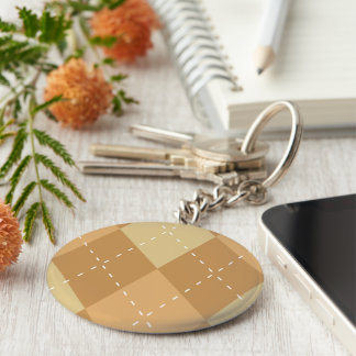 Brown Argyle Like Pattern Basic Round Button Keychain