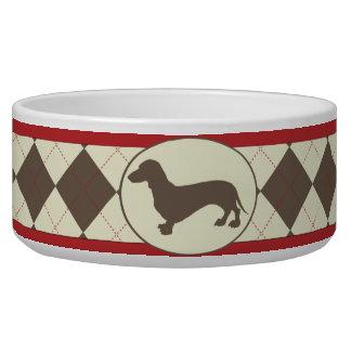 Brown Argyle plaid dachshund dog bowl
