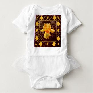 BROWN ART DIAMOND  PATTERN GOLDEN BEARDED  IRIS BABY BODYSUIT