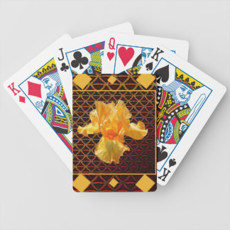 BROWN ART DIAMOND  PATTERN GOLDEN BEARDED  IRIS BICYCLE PLAYING CARDS
