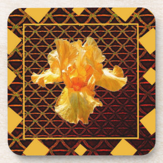 BROWN ART DIAMOND  PATTERN GOLDEN BEARDED  IRIS COASTER