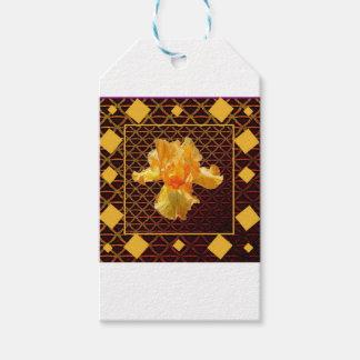 BROWN ART DIAMOND  PATTERN GOLDEN BEARDED  IRIS GIFT TAGS