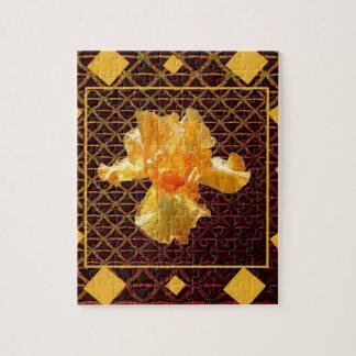 BROWN ART DIAMOND  PATTERN GOLDEN BEARDED  IRIS JIGSAW PUZZLE
