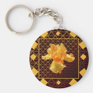 BROWN ART DIAMOND  PATTERN GOLDEN BEARDED  IRIS KEYCHAIN