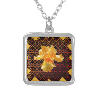 BROWN ART DIAMOND  PATTERN GOLDEN BEARDED  IRIS SILVER PLATED NECKLACE