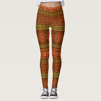 Brown aztec pattern leggings