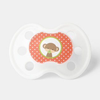 Brown Baby Monkey on Orange Polka Dots Pacifier
