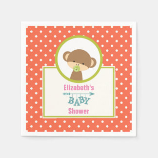 Brown Baby Monkey with Pacifier Baby Shower Disposable Napkin