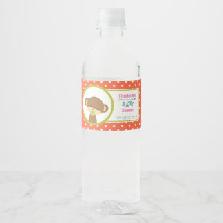 Brown Baby Monkey with Pacifier Baby Shower Water Bottle Label