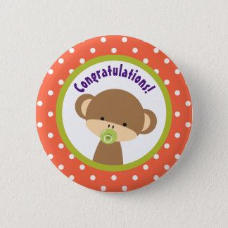 Brown Baby Monkey with Pacifier Congratulations 2 Inch Round Button