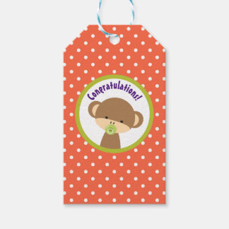 Brown Baby Monkey with Pacifier Congratulations Gift Tags