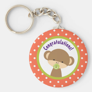 Brown Baby Monkey with Pacifier Congratulations Keychain