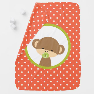 Brown Baby Monkey with Pacifier on Polka Dots Baby Blanket