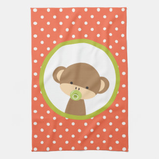 Brown Baby Monkey with Pacifier on Polka Dots Kitchen Towel