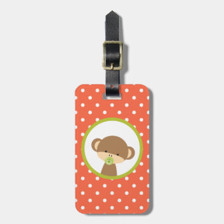 Brown Baby Monkey with Pacifier on Polka Dots Luggage Tag