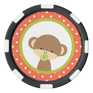 Brown Baby Monkey with Pacifier Poker Chip Set
