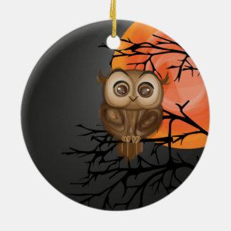 Brown baby owl on orange moon background ceramic ornament