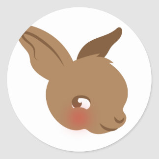 brown baby rabbit face classic round sticker