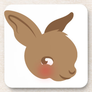 brown baby rabbit face coaster