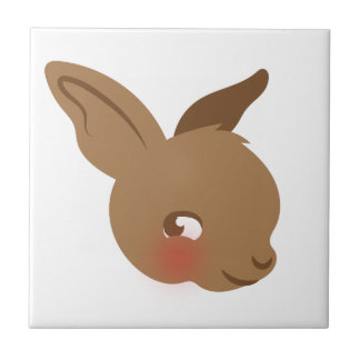 brown baby rabbit face tile