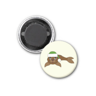 Brown Baby Seal with Christmas Green Santa Hat 1 Inch Round Magnet