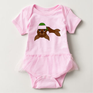 Brown Baby Seal with Christmas Green Santa Hat Baby Bodysuit