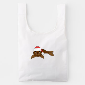 Brown Baby Seal with Christmas Red Santa Hat