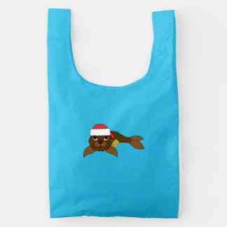 Brown Baby Seal with Santa Hat & Gold Bell