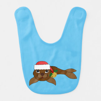 Brown Baby Seal with Santa Hat & Gold Bell Bib