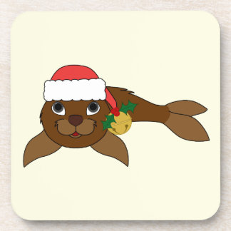 Brown Baby Seal with Santa Hat & Gold Bell Coasters