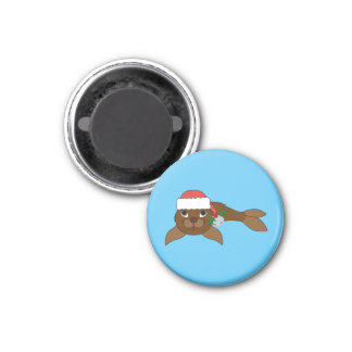 Brown Baby Seal with Santa Hat & Silver Bell 1 Inch Round Magnet