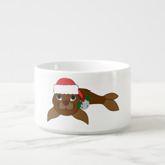 Brown Baby Seal with Santa Hat & Silver Bell Chili Bowl