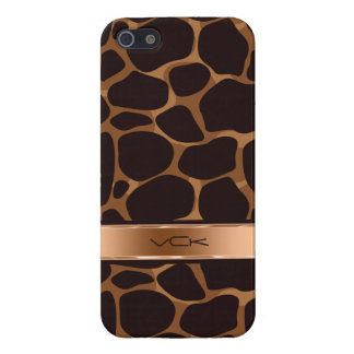 Brown Background & Copper Tones Leopard Print Case For iPhone 5/5S