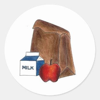 Brown Bag Sack School Lunch Apple Teacher Stickers