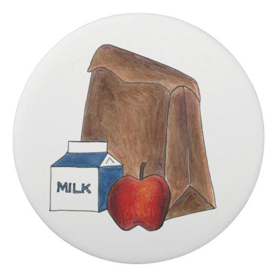 Brown Bag School Lunch Milk Carton Apple Teacher Eraser