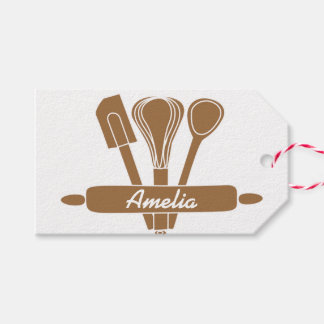 Brown Baking Tools Personalized Name Gift Tags