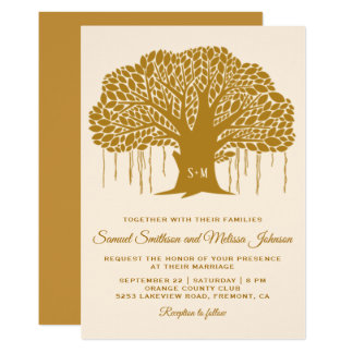 Brown Banyan Tree Monogram Wedding Invitation