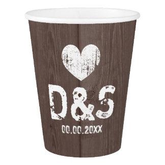 Brown barn wood grain wedding party paper cups