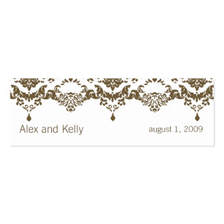 Brown Baroque Damask Wedding Website Business Card