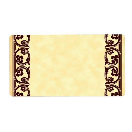 Brown Baroque Vintage Element Custom Label