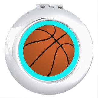 Brown Basketball Ball on Aqua Blue Vanity Mirror