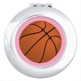 Brown Basketball Ball on Carnation Pink Vanity Mirror