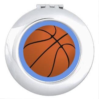 Brown Basketball Ball on Cornflower Blue Mirror For Makeup