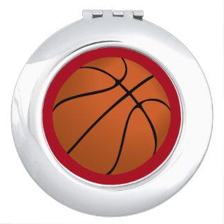 Brown Basketball Ball on Dark Red Vanity Mirrors